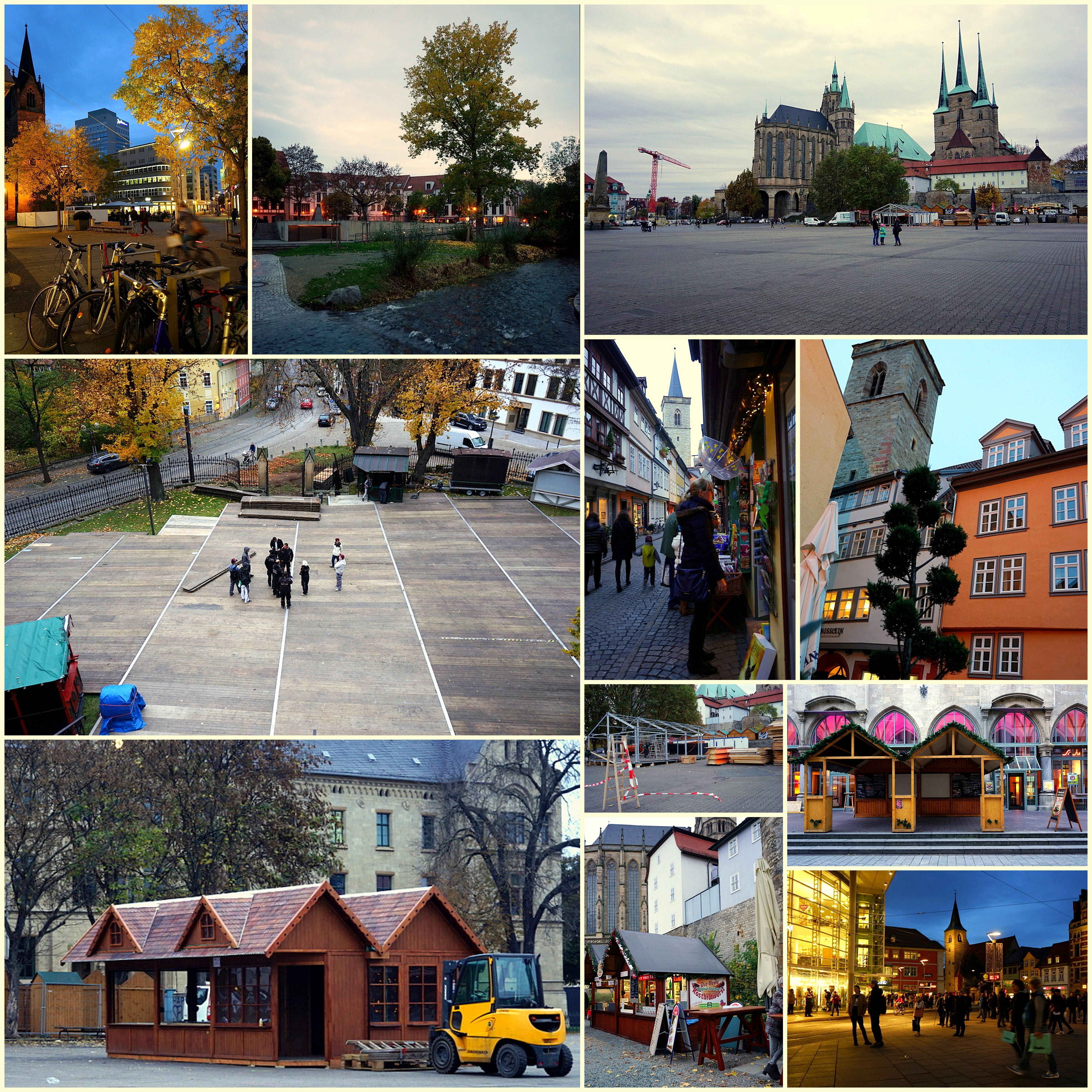 Aufbau Weihnachtsmärkte in Erfurt