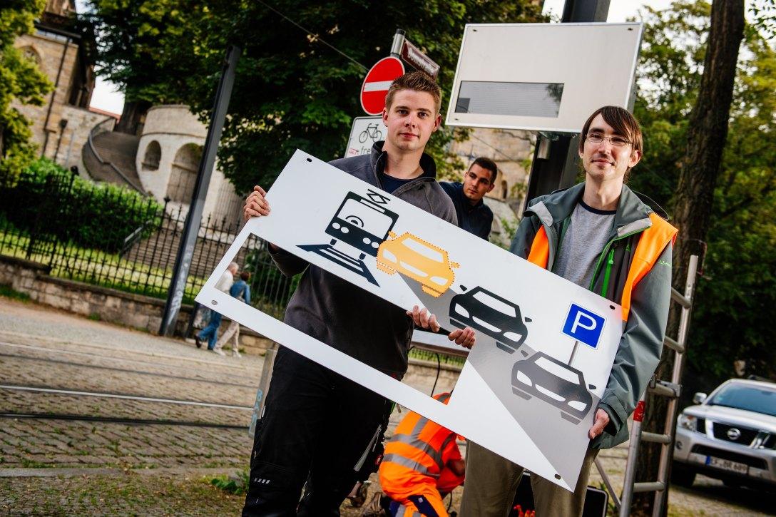 Neues Infosystem der EVAG für Parkplatz-Sucher in Erfurt!…läuft.